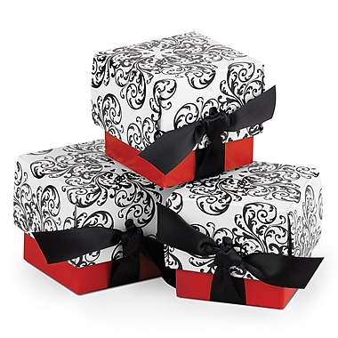 HBH™ 2-Piece Filigree Favor Boxes, Red/Black/White