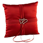HBH™ 8 x 8 With All My Heart Satin Ring Pillow With Rhinestone Heart Adornment, Claret