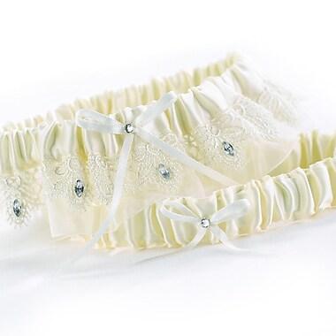 HBH™ Sparkling Elegance Garter Set With Rhinestone Accent, Ivory