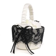 HBH™ Forever Love Basket, Ivory/Black Satin