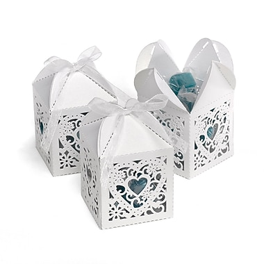 HBH™ Decorative Square Favor Boxes, White Shimmer