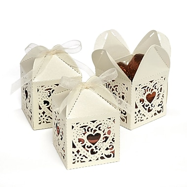 HBH™ Decorative Square Favor Boxes, Ivory Shimmer
