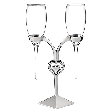 Hortense B. Hewitt, Raindrop Flute Glasses and Holder, Clear/Silver