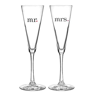 Hortense B. Hewitt, 6-1/2 oz., Together at Last Mr & Mrs Flute Glasses, Clear
