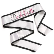 HBH™ 35(L) x 4(W) Bachelorette White Sash With Black Grosgrain Ribbon