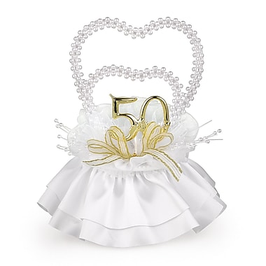 HBH™ in.50th Anniversaryin. Double Heart Pearl Cake Top With Gold Accented Bow, White