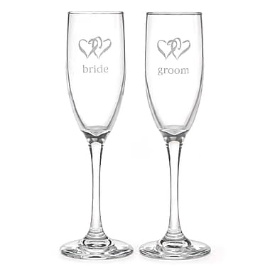 Hortense B. Hewitt, 6 oz., Linked Heart Bride & Groom Flute Glasses, Clear