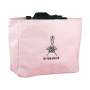 "HBH™ 12"" x 6 1/2"" x 14"" ""Bridesmaid"" Tote Bag With Black Handles, Light Pink"