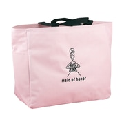 "HBH™ 12"" x 6 1/2"" x 14"" ""Maid Of Honor"" Tote Bag With Black Handles, Light Pink"
