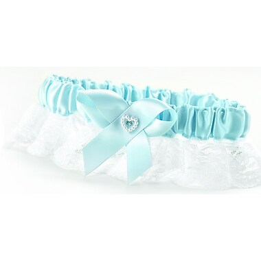 HBH™ Heart and Rhinestone Bridal Garter With Wide Lace Ruffle, Blue