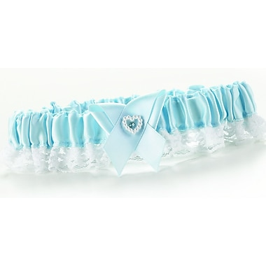 HBH™ Heart and Rhinestone Toss Garter With Narrow Lace Ruffle, Blue