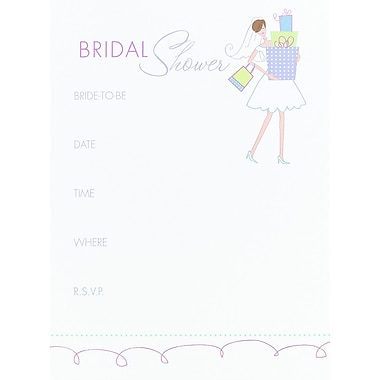 HBH™ Bridal Shower Gifts Invitations, White/Pink