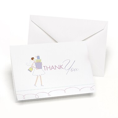 HBH™ Bridal Shower Thank You Cards, White/Pink