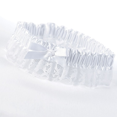 HBH™ Petite Garter With Bows and Delicate Lace Trim, White