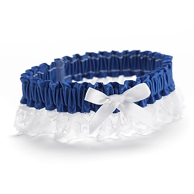 HBH™ Petite Garter With White Bows and Delicate Lace Trim, Royal Blue