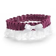 HBH™ Petite Garter With White Bow and Delicate Lace Trim, Purple