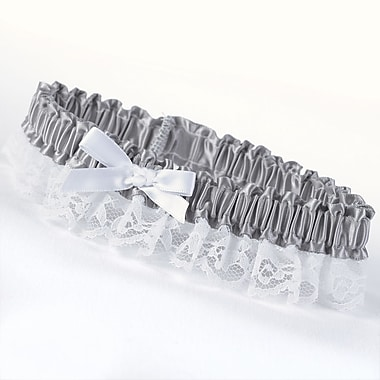 HBH™ Petite Garter With White Bow and Delicate Lace Trim, Platinum