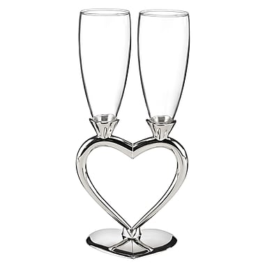 Hortense B. Hewitt, Interlocking Heart Flute Glasses, Clear/Silver