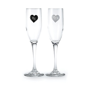 Hortense B. Hewitt, Mr & Mrs Heart Flute Glasses, Clear