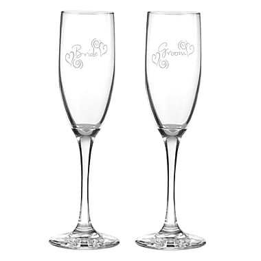 Hortense B. Hewitt, 6 oz., Swirl Heart Flute Glasses, Clear