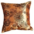 Violet Linen Silky Bloom Design Throw Pillow; Gold
