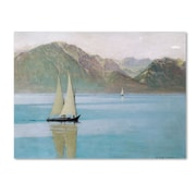 Trademark Fine Art 'Boat On Lake Geneva 1892' 24 x 32 Canvas Art
