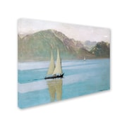 Trademark Fine Art 'Boat On Lake Geneva 1892' 18 x 24 Canvas Art