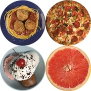 "S&S® 17"" X 11"" Round Thera Jigsaw Foam Puzzles Set D, Grapefruit/Ice Cream/Spaghetti/Pizza"