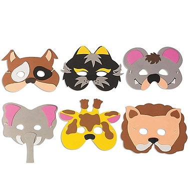 Super Foam AC729 Multicolor Animal Mask Kit, 24/Pack