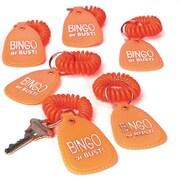 S&S® Bingo or Bust Coil Wrist Bracelet With Key Tag, Orange, 12/Pack