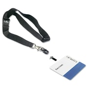 Durable Card Fix ID Card Holder With Lanyard, Black, 10/Box