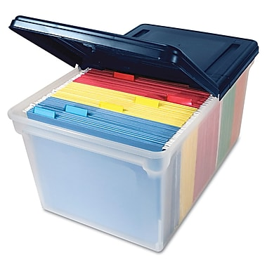 Advantus® Letter Extra-Capacity File Tote Storage Box With Lid, Clear/Navy