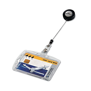 Durable Shell Style ID Card Holder With Reel, Clear, 10/Box