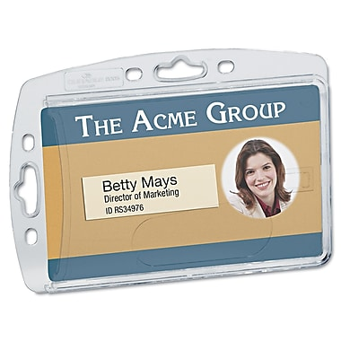 Durable Vertical/Horizontal Badge Holders, Clear