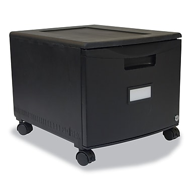 Storex Letter/Legal Single-Drawer Mobile Filing Cabinet, 12 3/4in. x 14 3/4in. x 18 1/4in., Black