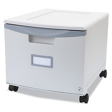 Storex 1 Drawer Mobile Filing Cabinet, 12 3/4in.H x 14 3/4in.W x 18 1/4in.D, Gray