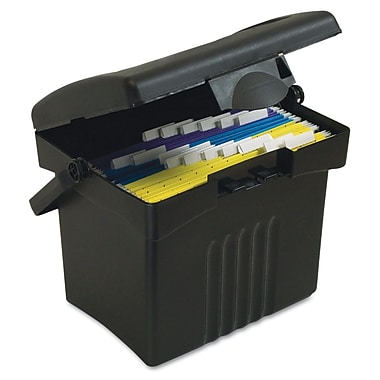 Storex Letter Portable File Storage Box, 14 1/2in. x 14in. x 11 1/4in., Black