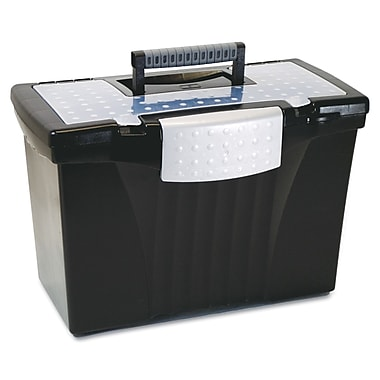 Storex Letter/Legal Portable File Storage Box With Organizer Lid, 12in. x 14 1/2in. x 10 1/2in., Black