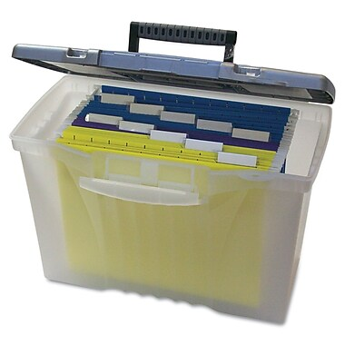 Storex Letter/Legal Portable File Storage Box With Organizer Lid, 12in. x 14 1/2in. x 8 1/2in., Clear
