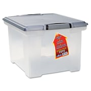 Storex Letter/Legal Portable File Tote Storage Box With Locking Handle, Clear/Silver