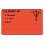"Tabbies® Medical Labels ""ALLERGIC TO:"", 2 1/2"" x 4"", Fluorescent Red, 100/Roll"