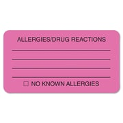 Tabbies® Labels ALLERGIES/DRUG REACTIONS, 1 3/4 x 3 1/4, Fluorescent Pink, 250/Roll