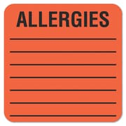 "Tabbies® Medical Labels ""ALLERGIES"", 2"" x 2"", Fluorescent Red, 500/Roll"