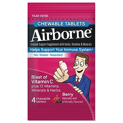 Airborne Immune Support Supplement Chewable Tablets Berry 4 Pack