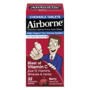 Airborne® Immune Support Chewable Tablets, Berry, 32/Pack