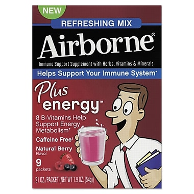 Airborne® Immune Support Plus Energy™ Packet, Natural Berry, 9/Pack