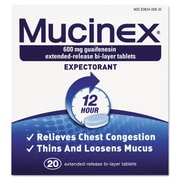 Mucinex® Expectorant Regular Strength Tablets, 12 Hour Relief, 20/Pack