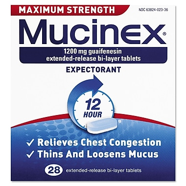 Mucinex® Max Strength Expectorant Tablets, 12 Hour Relief, 28/Pack