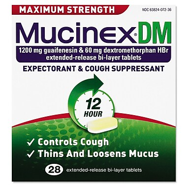 Mucinex® DM Max Strength Expectorant and Cough Suppressant Tablets, 12 Hour Relief, 28/Pack