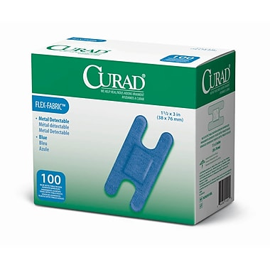 Medline® Curad® Flex-Fabric™ Blue Food Service Adhesive Bandage, 1 1/2in. x 3in., Knuckle, 1200/Pack
